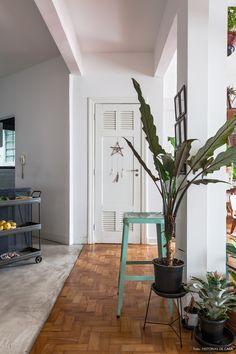porta antiga decorada com filtro dos sonhos e jardim de apartamento feito com vasos