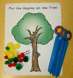 """Put the Apples on the Tree"" from fun-a-day.com -- a fun math game that lets children practice 1:1 correspondence and fine motor skills"