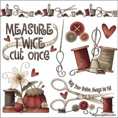 Measure Twice Clip Art Designs Graphics Illustrations Sewing Art, Sewing Crafts, Sewing Projects, Clipart Photo, Graphic Illustration, Illustrations, Sewing Clipart, Sewing Room Decor, Retro Poster