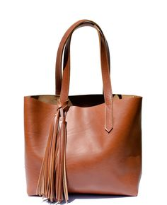 BARA Cognac Leather Tote. Soft yet sturdy full-grain leather. Handcrafted  in Gilbert b3aa8bee14245