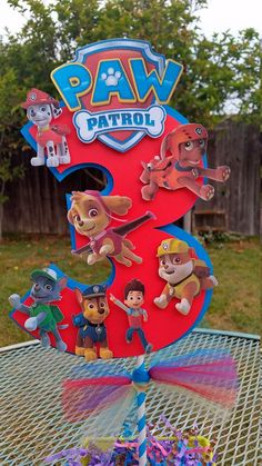 inch Paw Patrol centerpiece Paw Patrol by SilviasPartyDecor Paw Patrol Cake, Paw Patrol Party, Paw Patrol Birthday, Third Birthday, 4th Birthday Parties, Boy Birthday, Birthday Ideas, Cumple Paw Patrol, Puppy Party