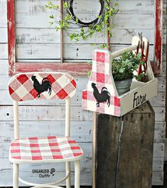 Rummage Sale Stool & Planter Upcycles with Paint & Old Sign Stencils Upcycled Home Decor, Funky Home Decor, Upcycled Garden, Country Farmhouse Decor, Farmhouse Style, Yard Sale Signs, Rummage Sale, Old Crates, Scandinavian Dining Chairs