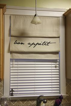 DIY Tutorial: DIY Roman Shades / DIY Faux-Sho Roman Shade with Text - Bead&Cord