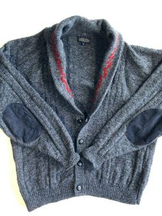Mens Lands End Shawl Collar Cardigan Elbow Patches Blue Wool Blend Made in USA L #LandsEnd #Cardigan Shawl Collar Cardigan, Elbow Patches, Cardigans, Sweaters, Blue Wool, Wool Blend, Men Sweater, Men Casual, Mens Fashion