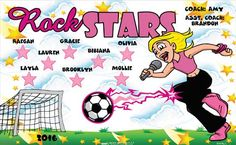 Rock Stars B54349_F  digitally printed vinyl soccer sports team banner. Made in the USA and shipped fast by BannersUSA.  You can easily create a similar banner using our Live Designer where you can manipulate ALL of the elements of ANY template.  You can change colors, add/change/remove text and graphics and resize the elements of your design, making it completely your own creation.
