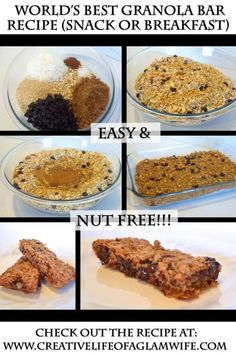 Nut free granola bars, dump and mix . Super easy!!