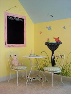 I already have the yellow walls and blue ceiling, maybe move Camryn to Kennedy's room for bunks and make a tea party, dress up play room. Pea Ideas, Disney Princess Room, Little Girl Rooms, Room Girls, Blue Ceilings, Paris Theme, Kids Bedroom, Kids Rooms, Room Planning
