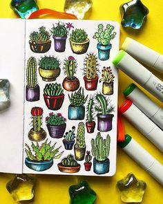 by Alex Kipnis - Funny cactus for a good mood - Drawing - Cactus Cactus Drawing, Cactus Painting, Cactus Art, Cactus Flower, Painting & Drawing, Flower Pots, Plant Art, Bullet Journal Ideas Pages, Cute Doodles
