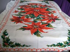 Vintage Christmas Table Runner Poinsettia by VintagePlusCrafts, $10.50