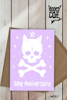 """Pastel Goth Card Custom Greetings """"Have a Magical Day"""" Greeting Birthday Card Black Gothic Personalised Metal Your Own Message Pink Skull"""
