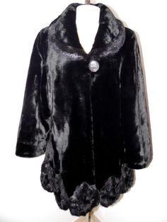 ALFREDO-PAULY-Magnifique-manteau-noir-TAILLE-40-fausse-fourrure-valeur-189