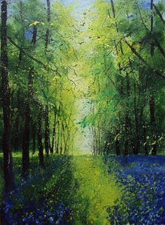 ARTFINDER: Bluebells Spring by Teresa Tanner - One of my impressionistic woodland tree paintings, loosely painted in oils with a little ink. Circling birds and swathe of bluebells in the foreground. Rich ...