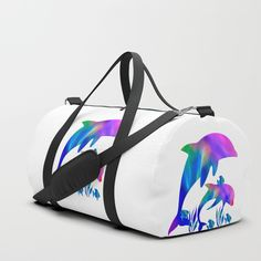 Rainbow Dolphins Swimming In The Sea Travel/duffle Bag by Laureenr - SMALL - x Duffle Bag Travel, Duffle Bags, Dolphins, Gym Bag, Shoulder Strap, Girly, Swimming, Rainbow, Backpacks