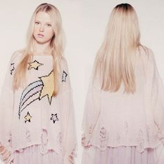 Lady Cute Stars Crochet Distressed Baggy Hole Knit Top Pullover Jumper Sweater C in Clothes, Shoes & Accessories, Women's Clothing, Jumpers & Cardigans | eBay