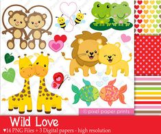 Wild Love - Valentine's day - Clip art and Digital paper set Valentines Day Clipart, Love Valentines, Clip Art, Wild Love, Photoshop Elements, Digital Stamps, Art Images, Planner Stickers, Things To Sell