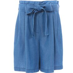 3.1 Phillip Lim Stone Wash Denim Paperbag Waisted Shorts (€385) ❤ liked on Polyvore featuring shorts, jean shorts, denim shorts, paper bag shorts, paperbag shorts and tailored shorts