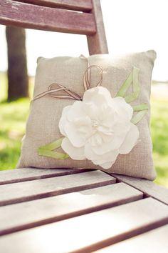 Handmade rustic wedding pillow