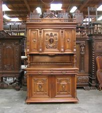 Antique French Renaissance Walnut Buffet Cabinet Sideboard