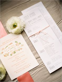peach floral wedding invites http://www.weddingchicks.com/2013/09/11/peach-and-gray-wedding/