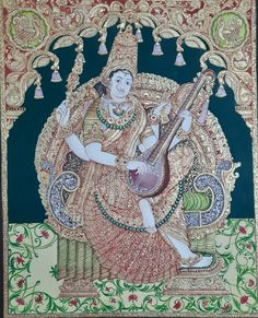 Mysore Painting, Tanjore Painting, Traditional Paintings, Traditional Art, Lord Murugan, Archaeological Discoveries, Indian Folk Art, Gods And Goddesses, Gold Leaf