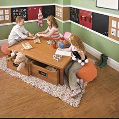 Love the chair rail! Kids Playroom Idea - Chair Rail made of Chalkboard, Cork Board & Magnetic Boards to draw, hang & display. Playroom Design, Playroom Ideas, Playroom Paint, Playroom Table, Kid Playroom, Playroom Furniture, Organized Playroom, Basement Ideas, Wall Design