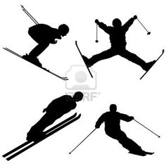 Silhouette set of different winter sports skiing part 1 Stock Photo