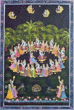Maha Raas (Miniature Painting on Silk Cloth - Unframed) Pichwai Paintings, Mughal Paintings, Krishna Painting, Madhubani Painting, Indian Art Paintings, Hare Krishna, Krishna Art, Krishna Images, Indian Folk Art