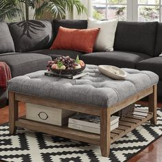The Inspire Q Lennon Pine Planked Storage Ottoman Coffee Table Artisan Grey [Grey Linen]- Button Tufts online shopping - Pptoplike Ikea Living Room, Living Room Sectional, Living Room Grey, Living Room Carpet, Living Room Furniture, Modern Furniture, Furniture Layout, Living Area, Electronics Projects