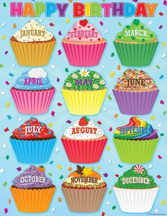 - Cupcakes Happy Birthday Chart, Convenient, useful learning tools that decorate as they educate! Each chart measures by Related lessons and. Birthday Display, Birthday Wall, Birthday Frames, Birthday Cupcakes, Happy Birthday, Barnyard Cupcakes, Cupcake Bulletin Boards, Birthday Bulletin Boards, Birthday Chart Classroom