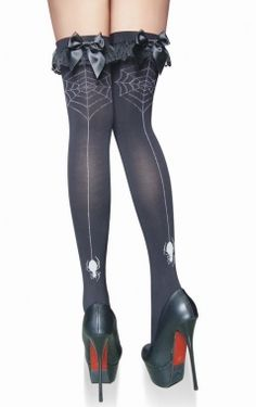 Spider Web Black Stockings Bow Goth - Leggings | RebelsMarket