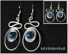 Wire Earrings With Blue Stone