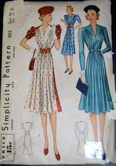 Vintage Original Simplicity 30's Unprinted Dress Pattern No. 3012