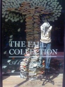 j.crew window display for fall.  A tree made out of books