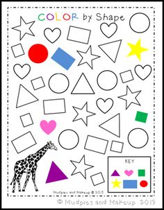 Kindergarten Special Education, Kindergarten Math Worksheets, Preschool Education, Preschool Printables, Preschool Learning, Preschool Activities, Shapes Worksheets, Worksheets For Kids, Giraffe Colors