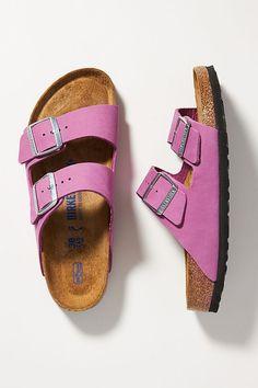 Pink Sandals, Lace Up Sandals, Summer Sandals, Summer Shoes, Slide Sandals, Sock Shoes, Shoe Boots, Clogs Outfit, Birkenstock Arizona