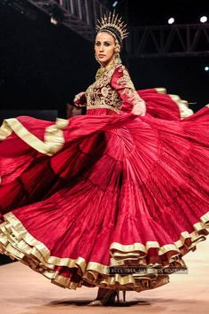 Alesia Raut showcases a creation by designer Suneet Varma during the Blenders Pride Fashion Tour 2014, held in Mumbai, on November 29, 2014.