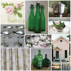 green glass, pale pink and silver