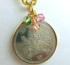 Japanese 500 Yen Coin Pendant Gold Filled Bezel | dianesdangles - Jewelry on ArtFire