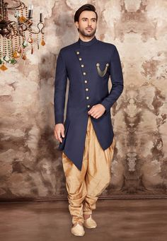 Solid Color Terry Rayon Asymmetric Dhoti Sherwani in Navy Blue Mens Wedding Wear Indian, Mens Indian Wear, Wedding Dress Men, Indian Men Fashion, Mens Fashion Suits, Male Fashion, Fashion Styles, Mens Shalwar Kameez, Salwar Suits
