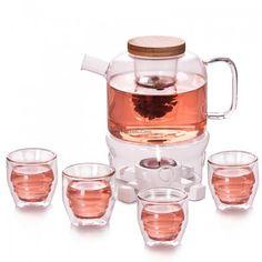 Glass Tea Set With Wooden Saucers - Tea Set - Ideas of Tea Set - Glass Tea Set With Wooden Saucers Glass Serving Bowls, Glass Tea Cups, Tea Pot Set, Tea Sets, Loose Tea Infuser, Orange Tea, Kitchen Necessities, Cream Tea, Flower Tea