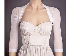 CUSTOM Wedding WHITE Bolero with 3/4 Sleeves ANY by uniquastudio