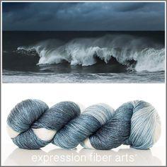 Expression Fiber Arts, Inc. - CRASHING WAVES 'LUSTER' SUPERWASH MERINO TENCEL SPORT, $24.00 (http://www.expressionfiberarts.com/products/crashing-waves-luster-superwash-merino-tencel-sport.html)