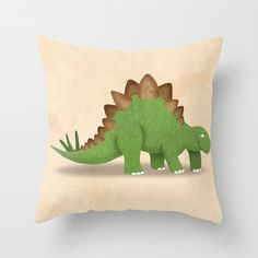 Dinosaur Stegosaurus Pillow Cover by krankykrab
