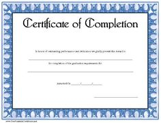Certificate of completion template in pdf and doc formats the a basic certificate of achievement with a decorative blue border free to download and print yelopaper Image collections