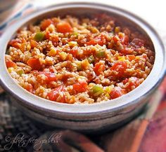 Gluten-Free SPANISH RICE BAKE - This recipe is vegan, but you can add cheese. You could also make the rice in veggie or chicken stock.