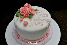 "6"" Anniversary cake with fondant roses decoration"