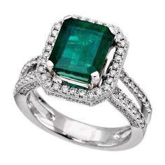 18K White Gold 3.00Ct Diamond & Emerald Ladies Ring $4,865.00