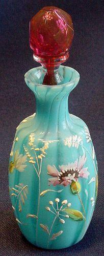 Victorian ART Glass Blue Floral Enamel Blood Stoppered Perfume Bottle.