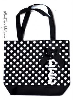 Tri Sigma Bag, Polka Dot Tote. I would want if the bow was pink or purple!