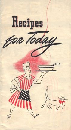 World War II Cookbook - Recipes For Today  This vintage cookbook was published by General Foods Corp., in 1943 during World War II. The booklet addresses food shortages and rations that the United States experienced during the war and offers creative ways to prepare meals (using many of the General Foods products). It has a variety of tips that can be helpful even today when working with tightening food budges. Quite the little treasure here!